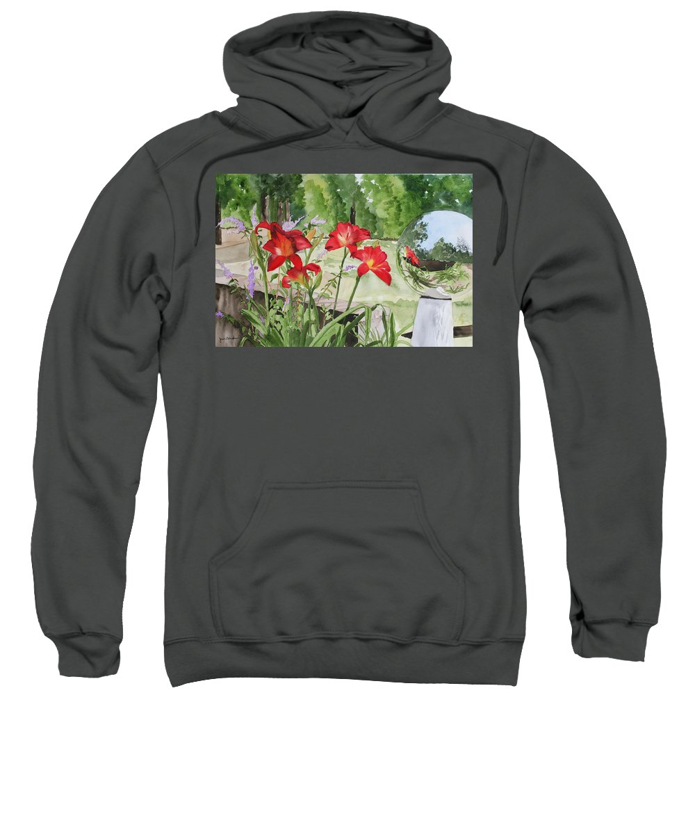 Flowers Sweatshirt featuring the painting Blue Sky Reflections by Jean Blackmer