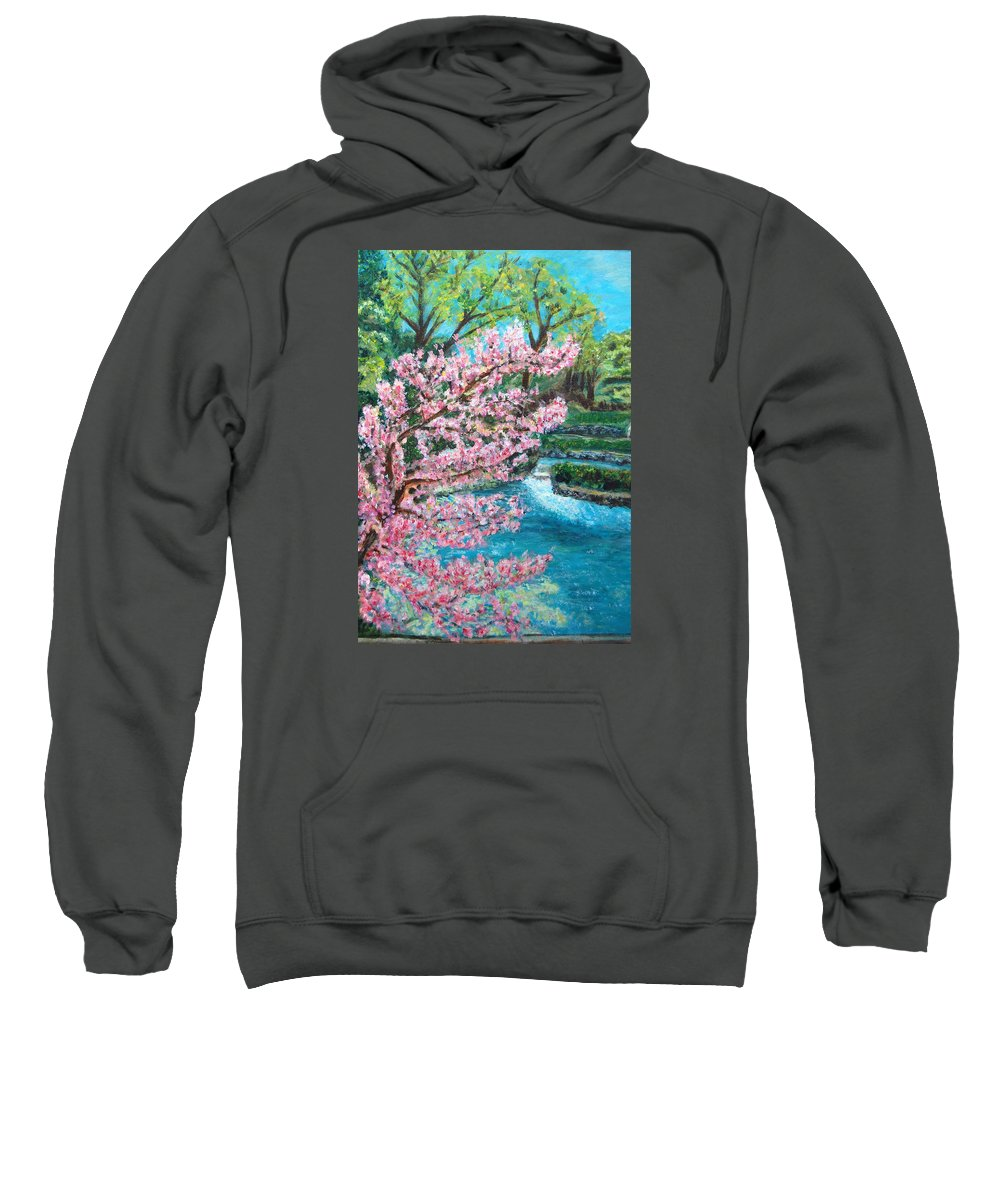 Blue Spring Sweatshirt featuring the painting Blue Spring by Carolyn Donnell