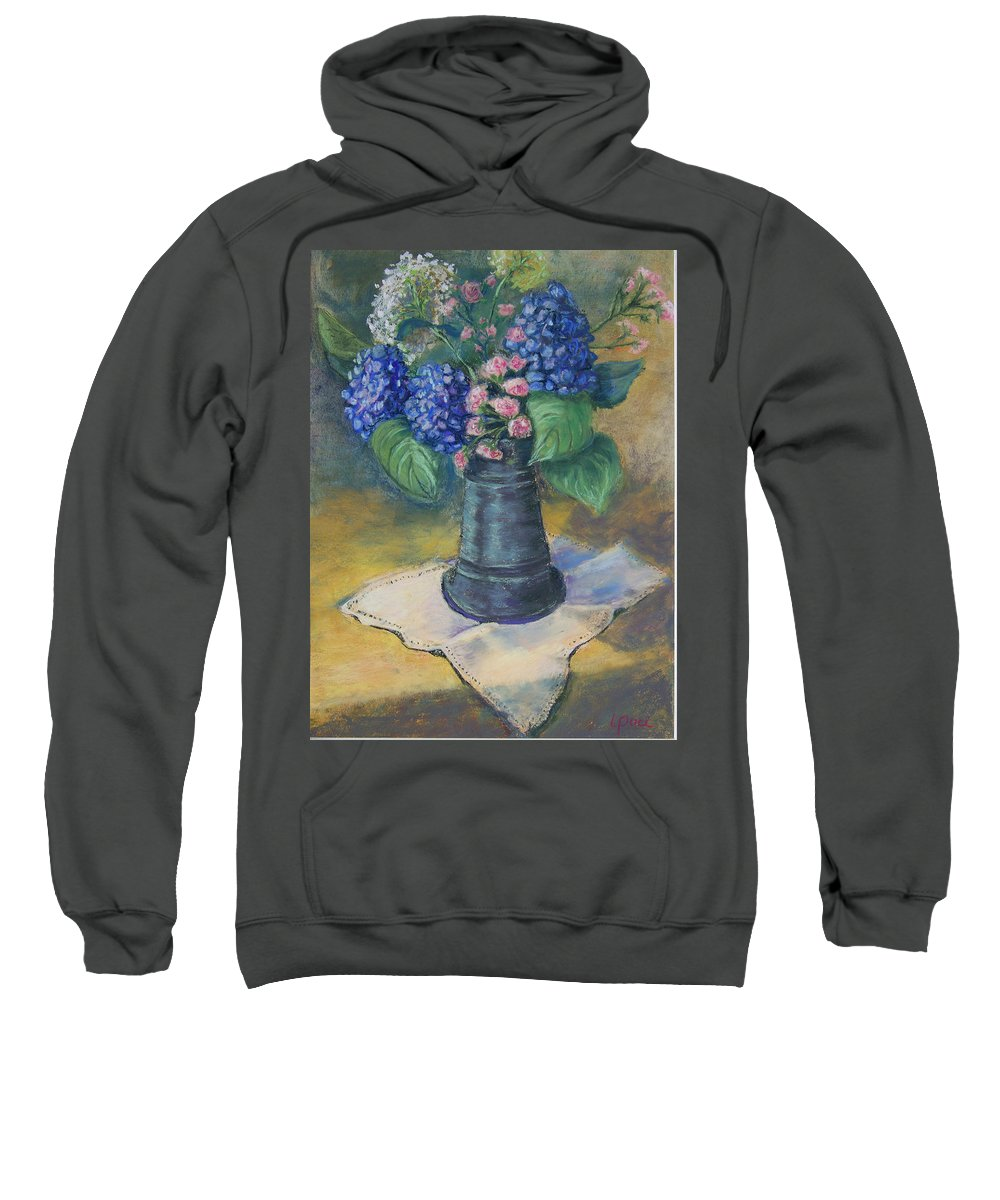 Flowers Sweatshirt featuring the painting Blue Summer by Laurie Paci