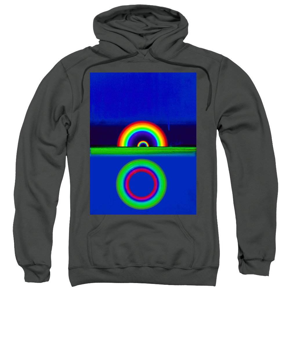 Rainbow Sweatshirt featuring the painting Blue Sunset by Charles Stuart