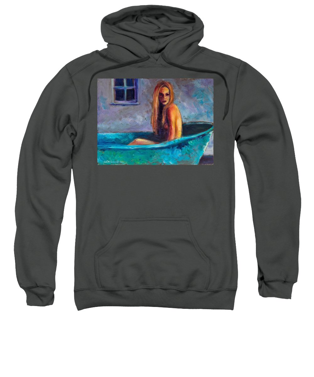 Nude Sweatshirt featuring the painting Blue Tub Study by Jason Reinhardt