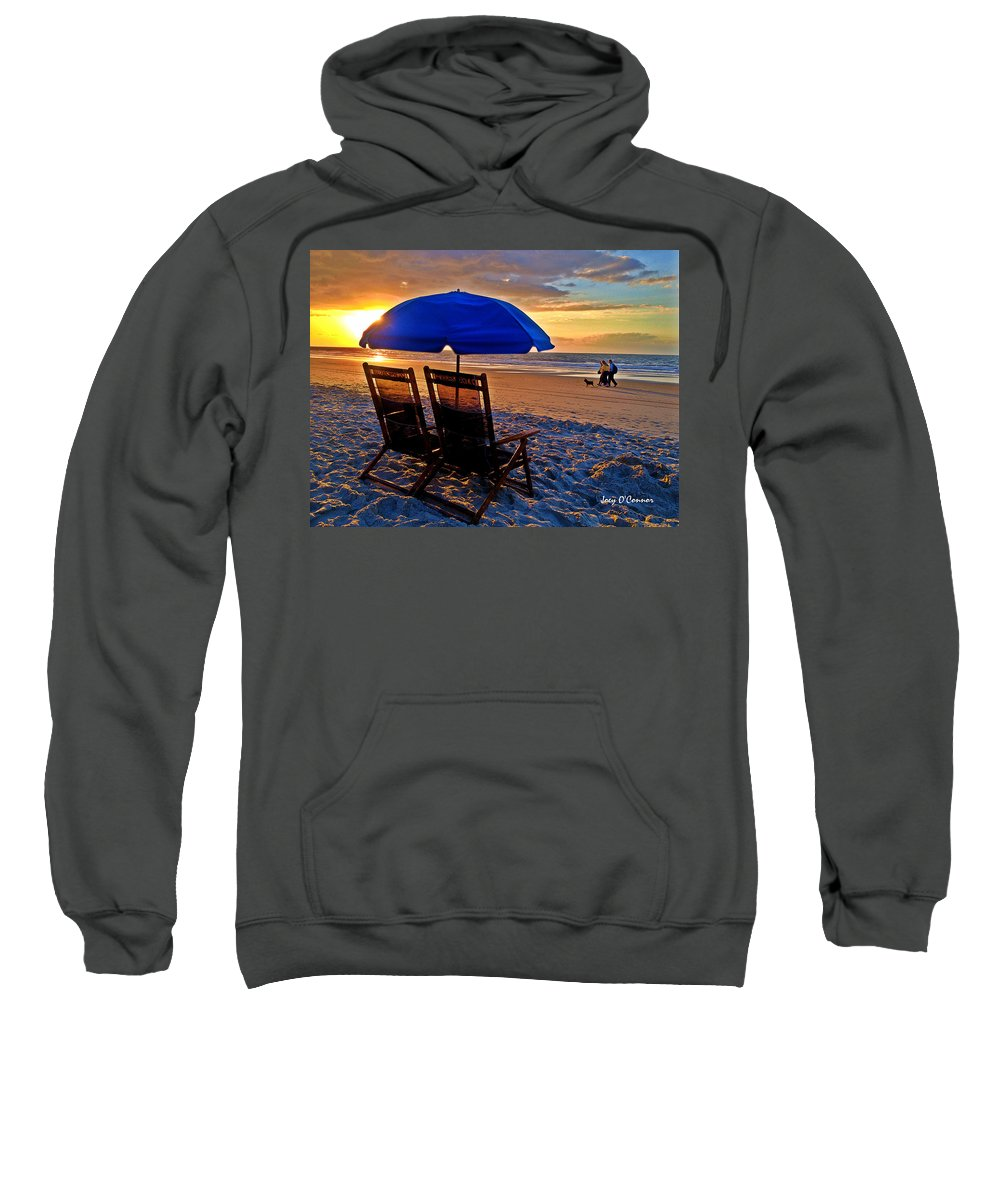 Beach Sweatshirt featuring the photograph Blue Umbrella Beach Chairs Sunrise by Joey OConnor