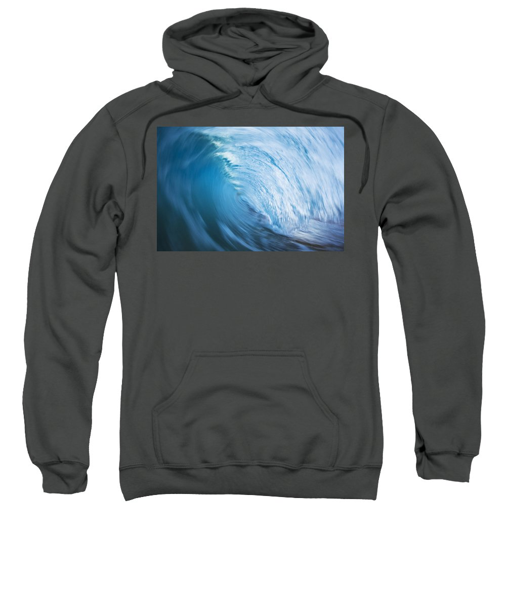 Abstract Sweatshirt featuring the photograph Blue Wave Tube Blur by MakenaStockMedia