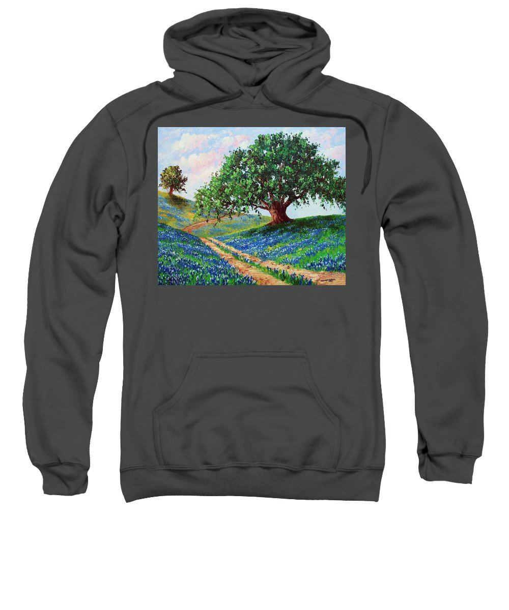Bluebonnet Sweatshirt featuring the painting Bluebonnet Road by David G Paul