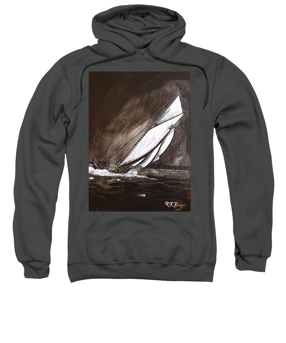 Bluenose Sweatshirt featuring the painting Bluenose At Night Going by Richard Le Page
