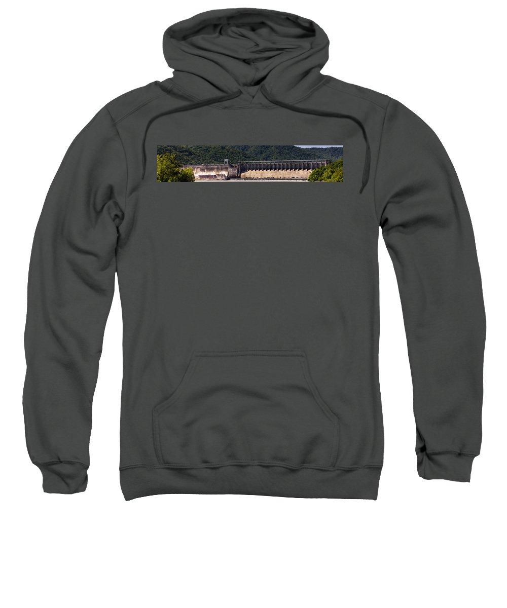Bluestone Sweatshirt featuring the photograph Bluestone West Virginia Dam Panorama by Teresa Mucha
