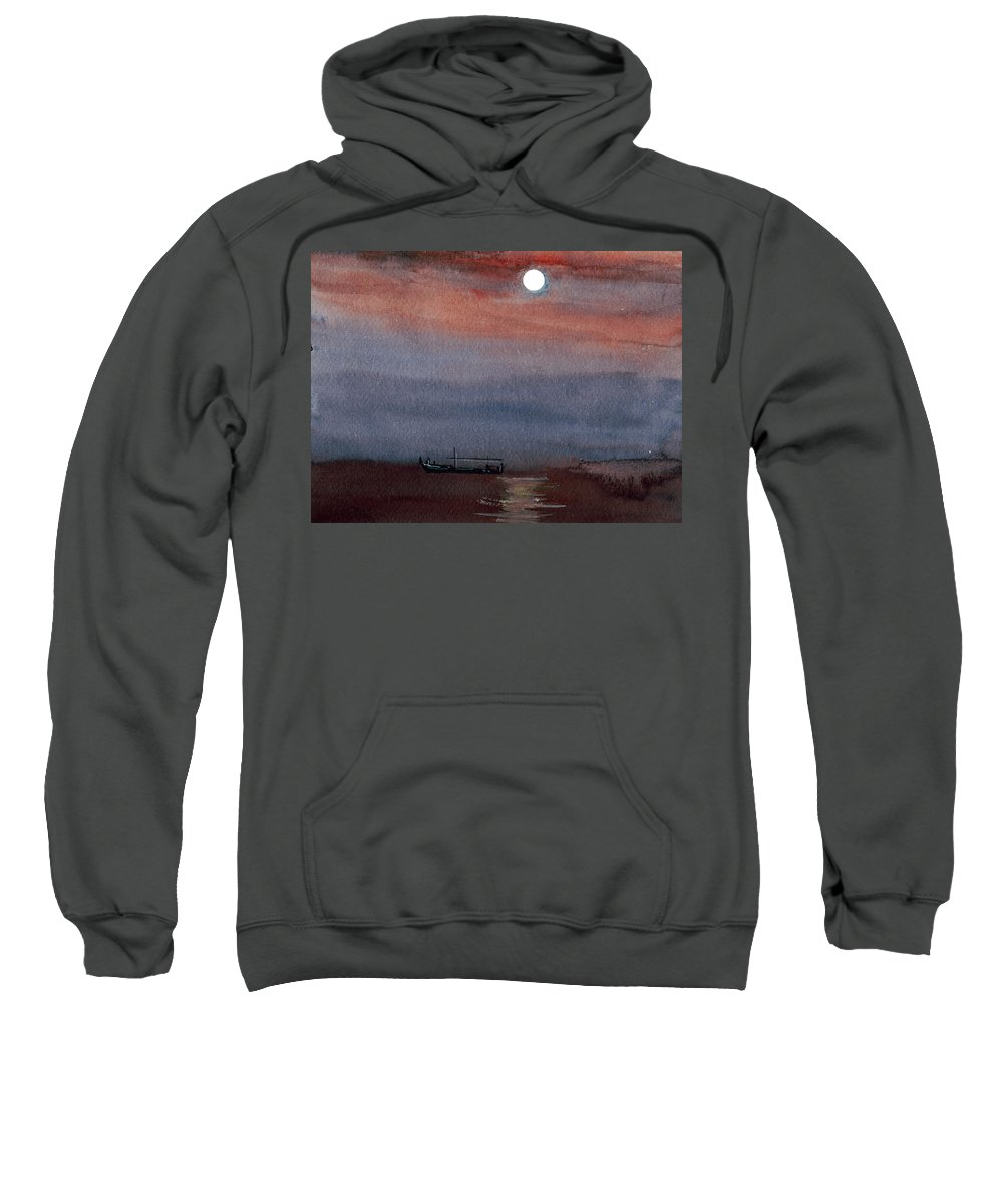 Seascape Sweatshirt featuring the painting Boat In The Moon by Anil Nene