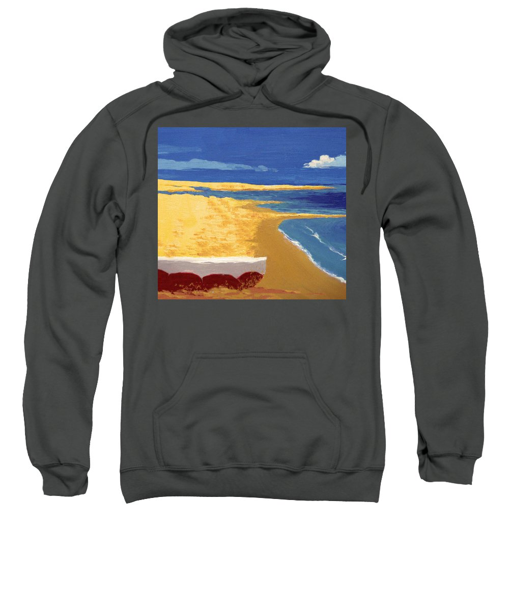 Boat Sweatshirt featuring the painting Boat On The Sand Beach by Alban Dizdari