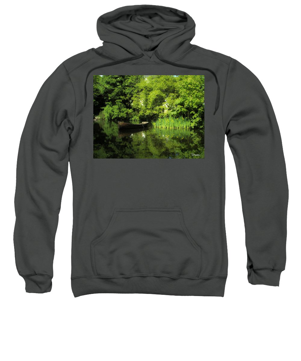Irish Sweatshirt featuring the digital art Boat Reflected On Water County Clare Ireland Painting by Teresa Mucha