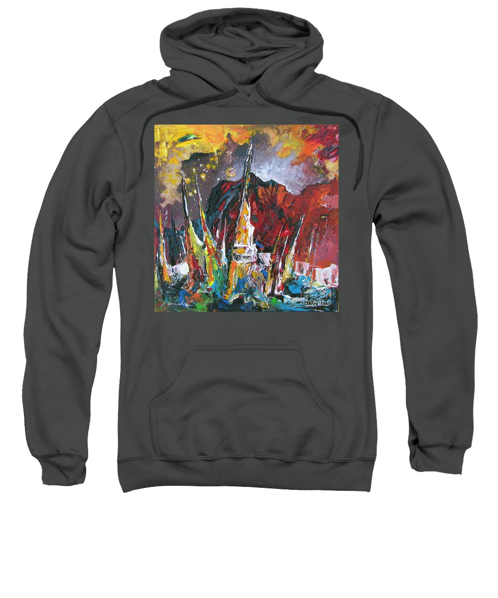Boats Painting Seacape Spain Acrylics Calpe Costa Blanca Sweatshirt featuring the painting Boats In Calpe 01 Spain by Miki De Goodaboom