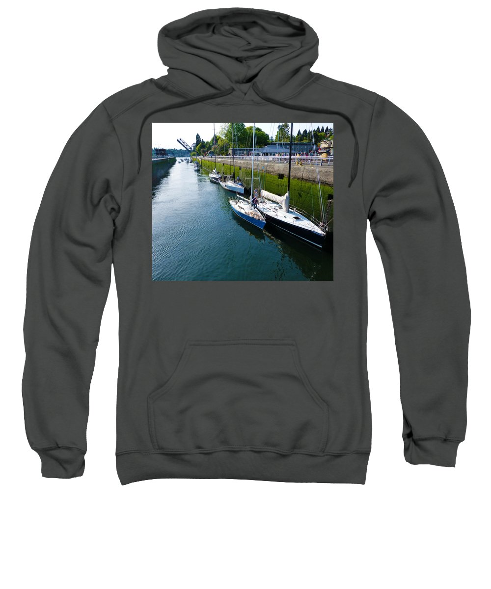 Boat Sweatshirt featuring the photograph Boats Moving Into Chittenden Locks Seattle by Susan Porter