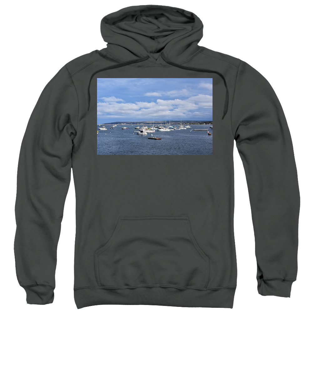 Boats Sweatshirt featuring the photograph Boats On Blue Water by John G Erlandson