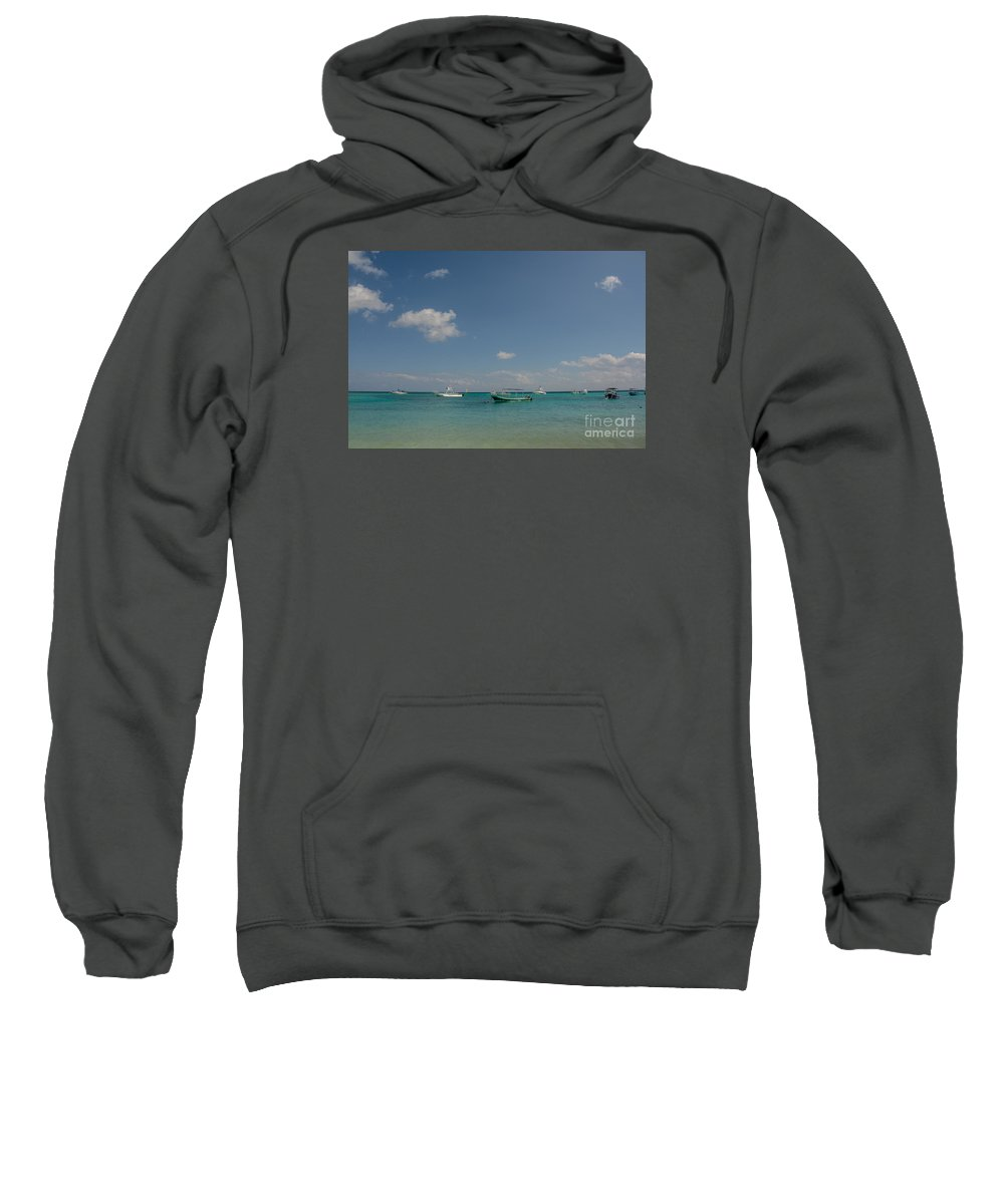 Cheryl Baxter Photography Sweatshirt featuring the photograph Boats On The Ocean by Cheryl Baxter