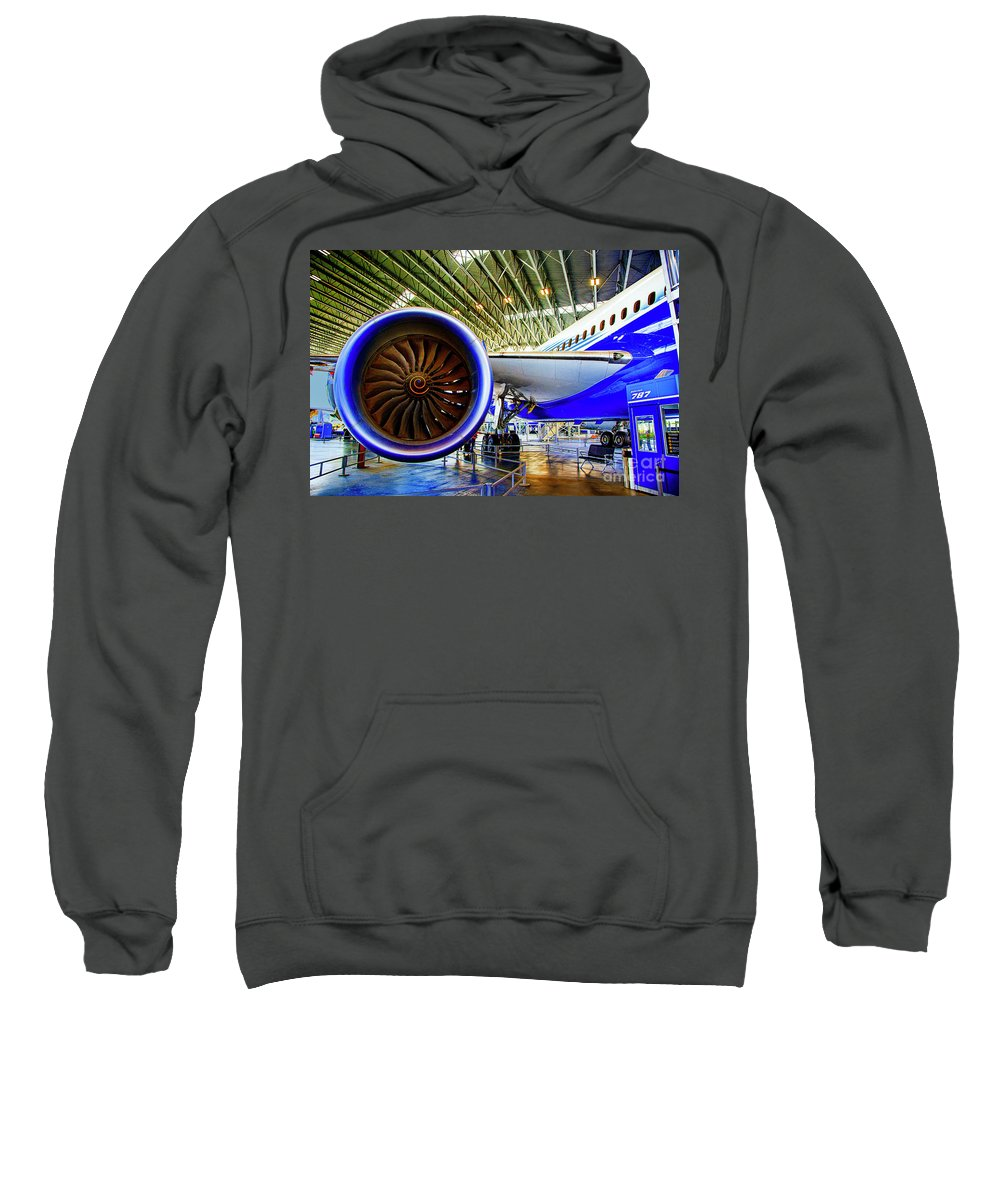 Boeing 787 Rolls Engines Sweatshirt featuring the photograph Boeing 787 Exterior by Rick Bragan