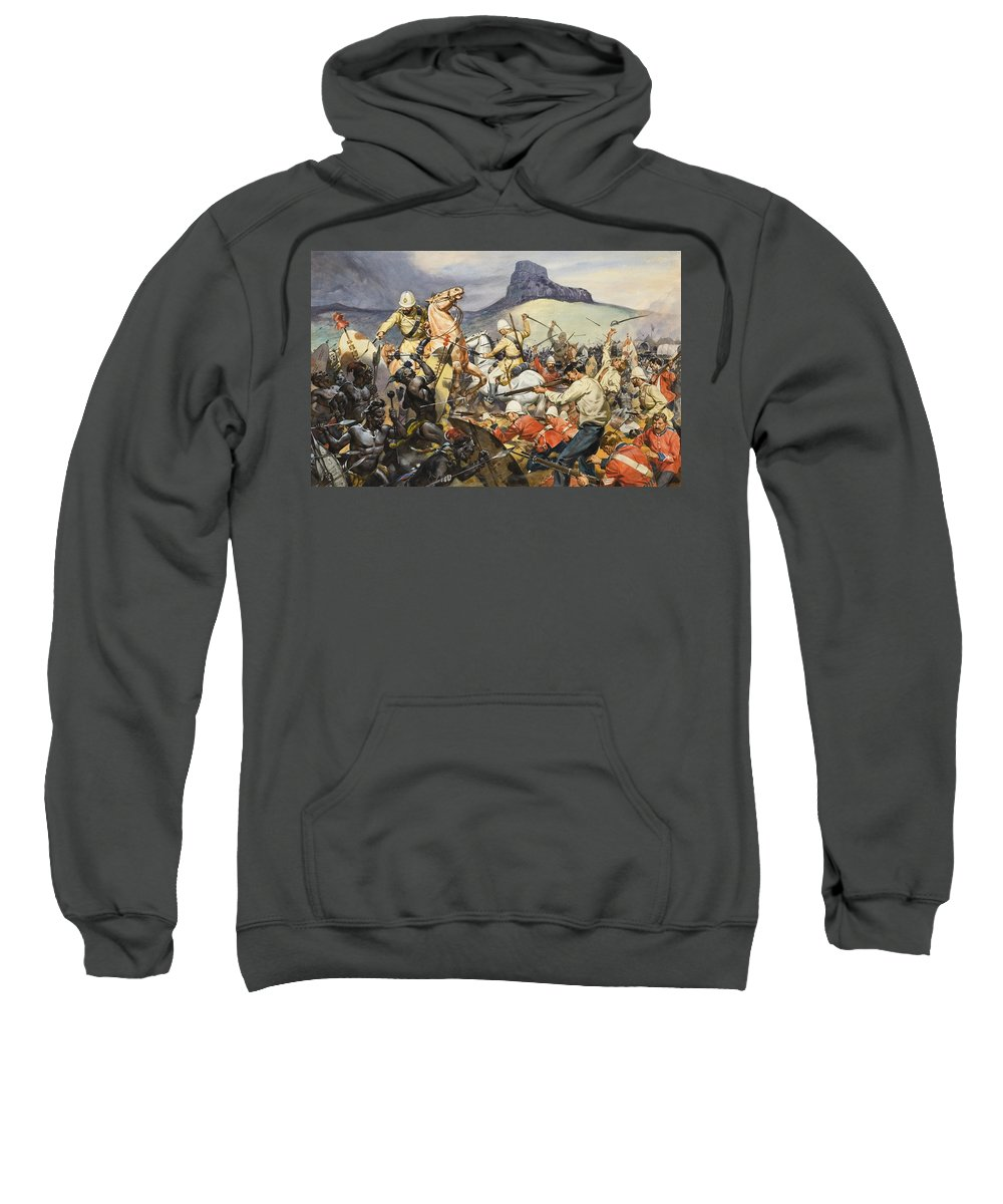 Native; South Africa; Dutch; Farmer; Fight; Combat; Attack; Soldier; Uniform; Sword; Shield; Cavalry; Mountain; Tribe; Gun; Shoot; Kill; Fighting; Pith Helmet; Children's Illustration; Afrikaans; Afrikaaners; C19th; African; Africans Sweatshirt featuring the painting Boers And Natives by James Edwin McConnell