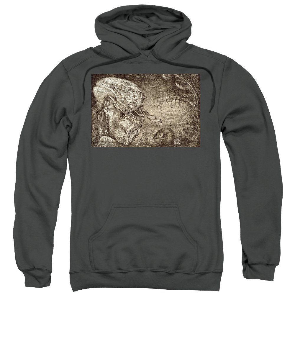 Surreal Sweatshirt featuring the drawing Bogomils Mousetrap by Otto Rapp