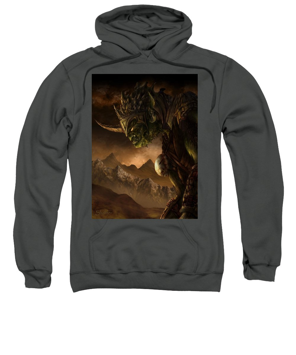 Goblin Sweatshirt featuring the mixed media Bolg The Goblin King by Curtiss Shaffer