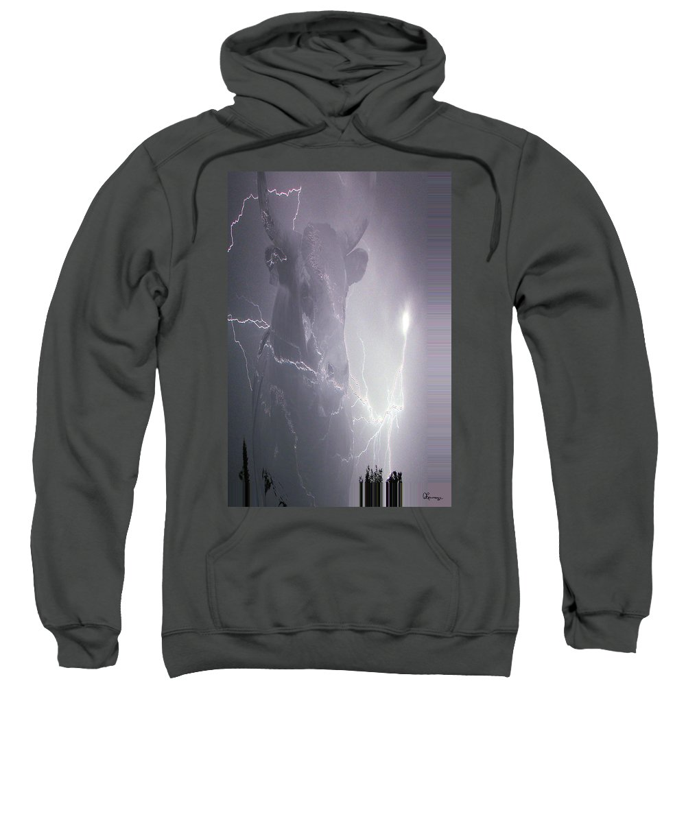 Lightening Lightning Cattle Bull Horns Cow Animal Rodeo Bullfighter Saskatchewan Artist Sweatshirt featuring the photograph Bolting Bull by Andrea Lawrence