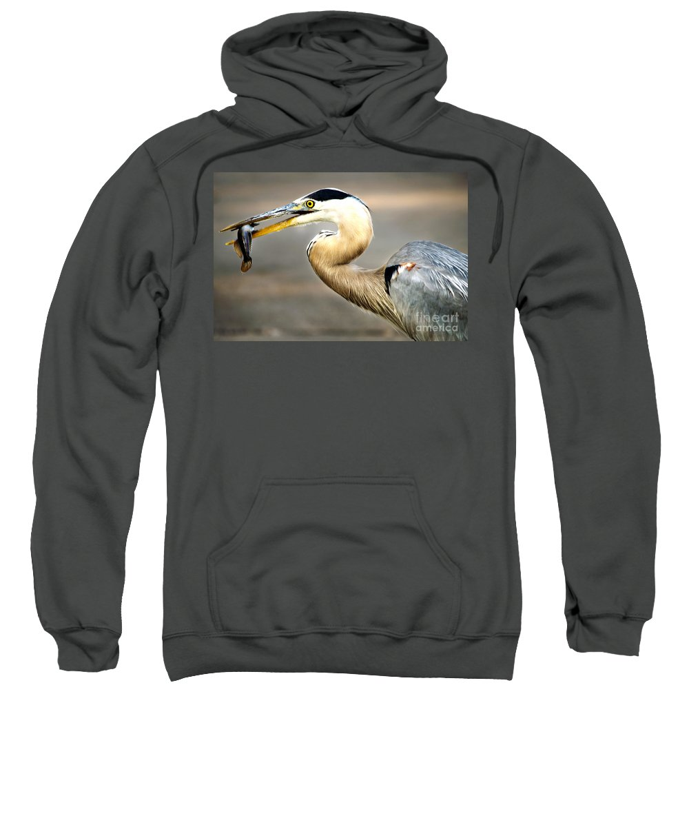 Heron Sweatshirt featuring the photograph Bon Appetite by Gaby Swanson