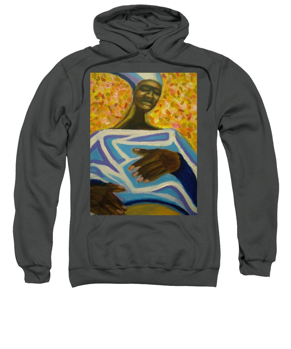 Painting Sweatshirt featuring the painting Bongo Man II by Jan Gilmore