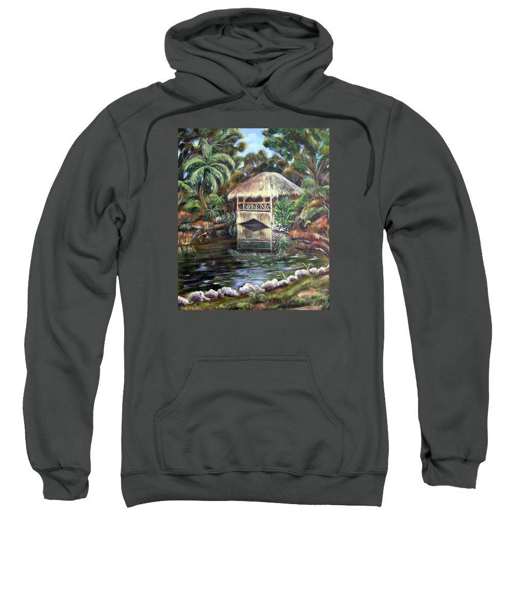 Bonnet House Sweatshirt featuring the painting Bonnet House Chickee by Patricia Piffath