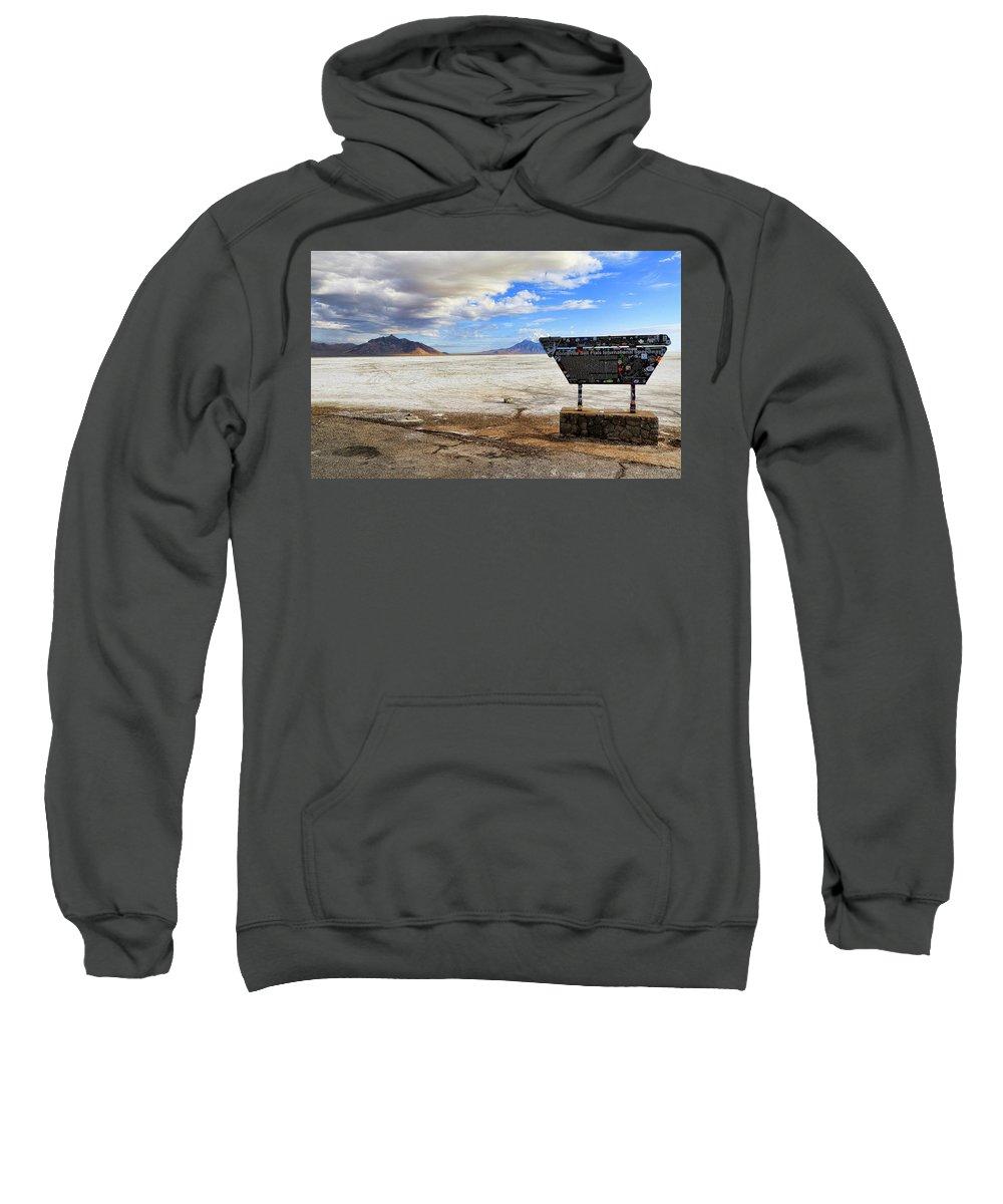 Bonneville Speedway Sweatshirt featuring the photograph Bonneville Speedway by Steve McKinzie