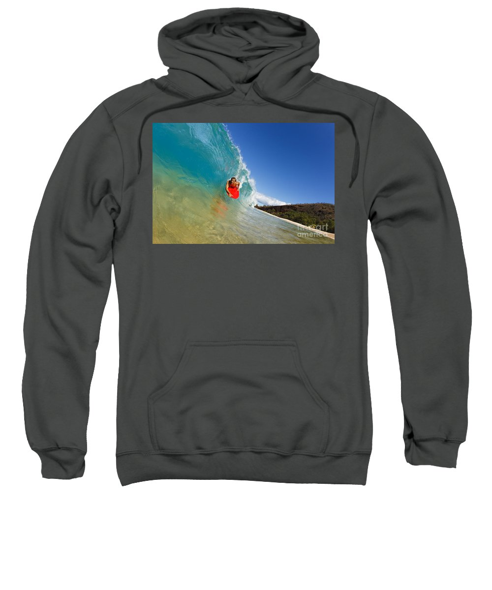 Action Sweatshirt featuring the photograph Boogie Boarding At Makena by MakenaStockMedia - Printscapes
