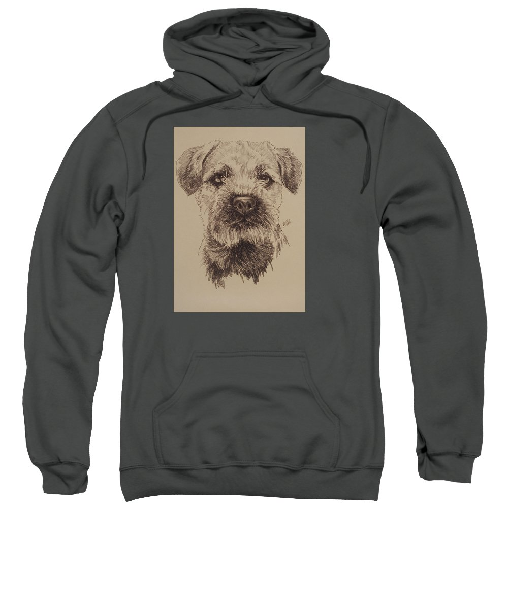 Art Sweatshirt featuring the drawing Border Terrier by Barbara Keith