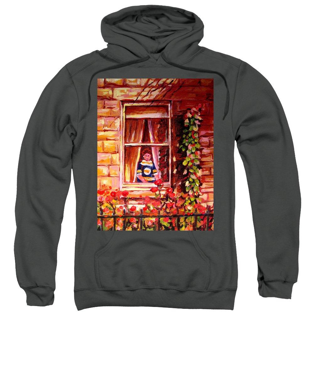 Boston Bruin Fan Sweatshirt featuring the painting Boston Bruin Fan by Carole Spandau
