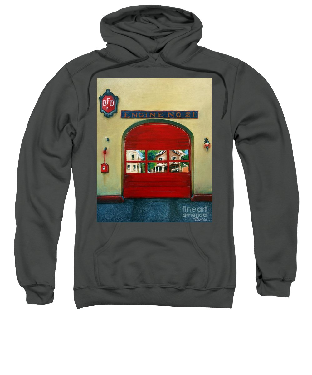 Fire House Sweatshirt featuring the painting Boston Fire Engine 21 by Paul Walsh