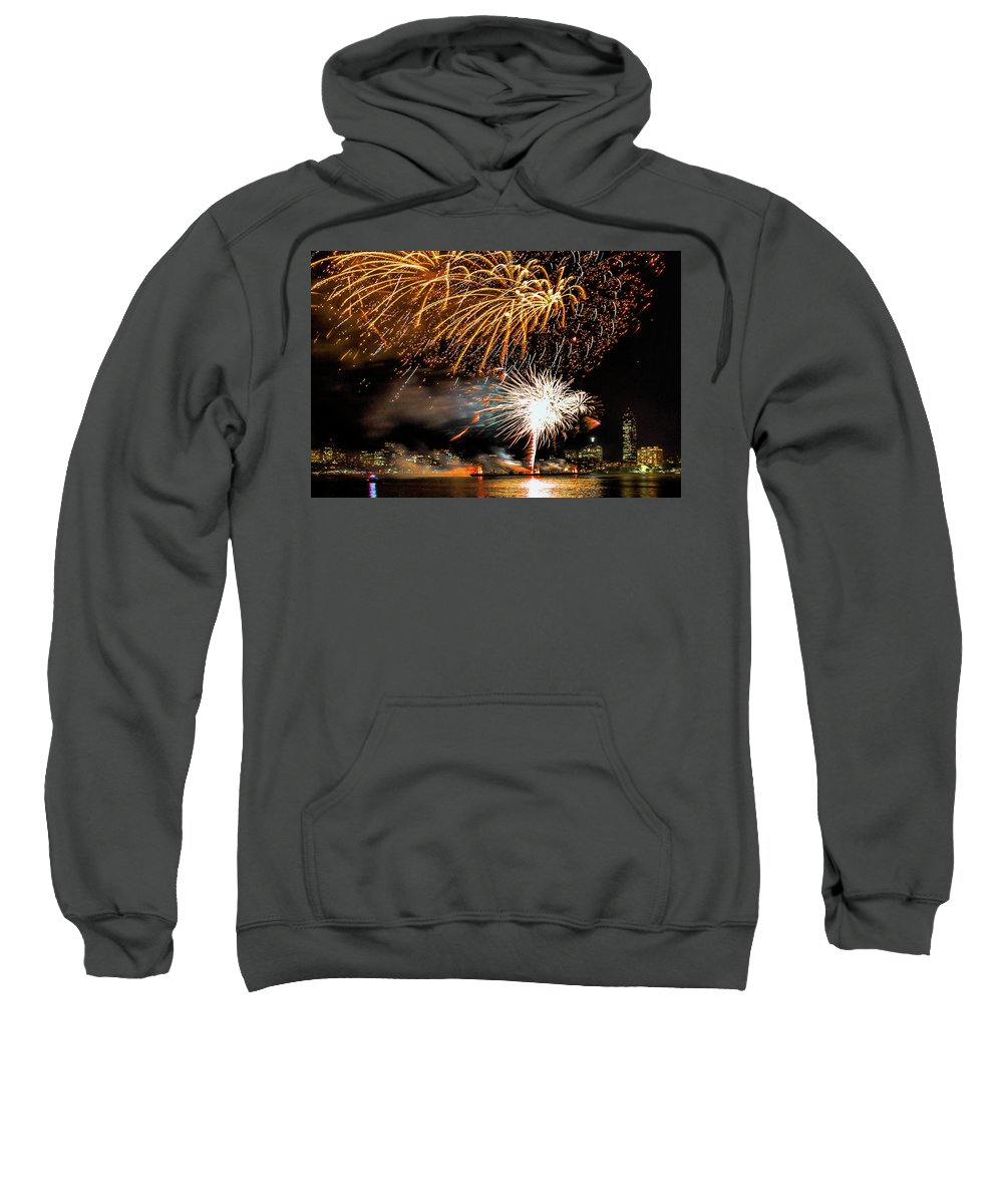Boston Ma Sweatshirt featuring the photograph Boston Fireworks On The Charles by Larry Richardson