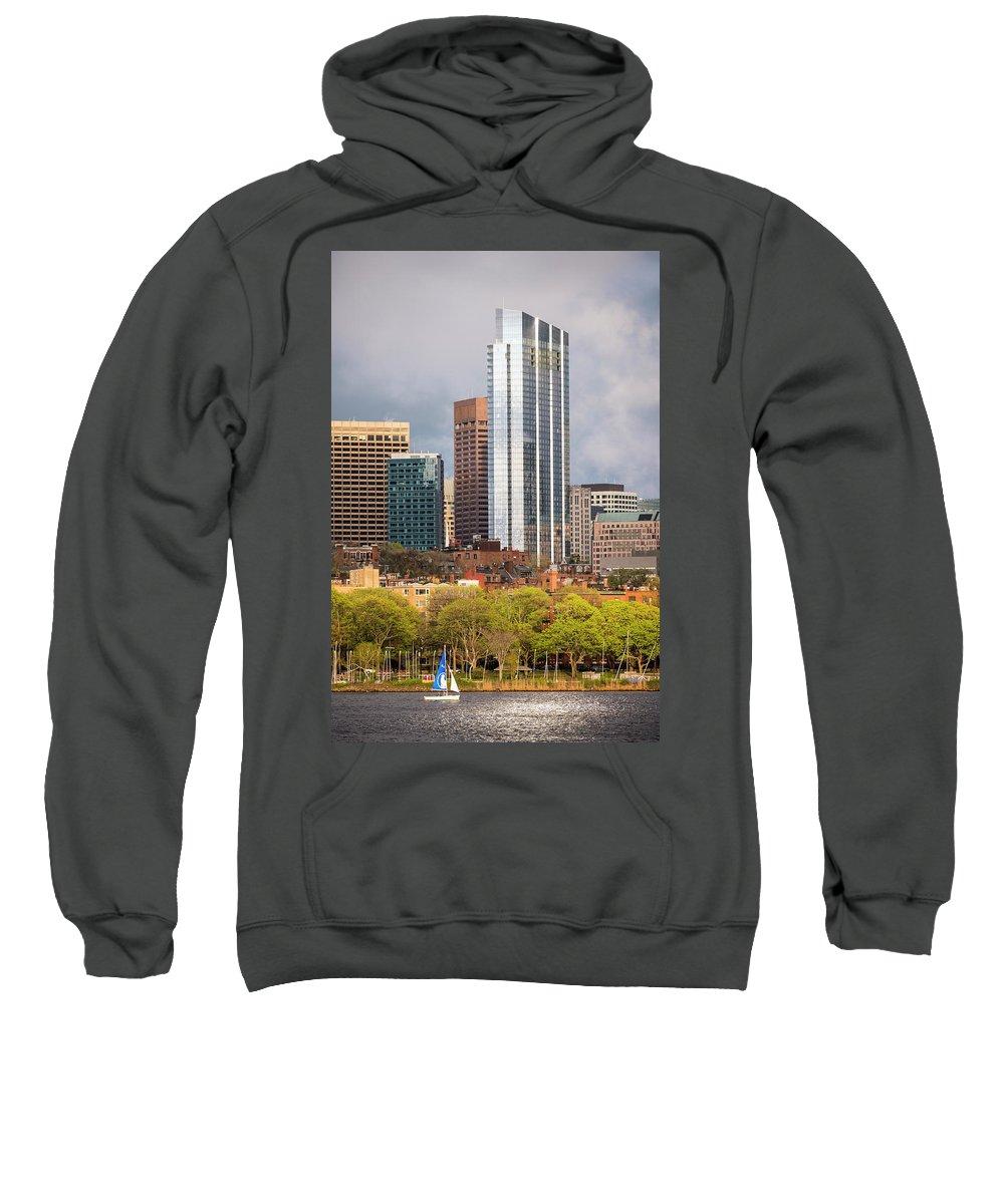 Boston Sweatshirt featuring the photograph Boston Skyline Skyscraper Boston Ma Charles River by Toby McGuire