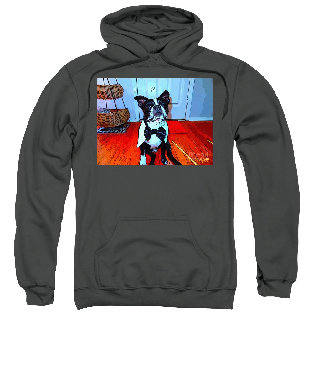 Boston Sweatshirt featuring the painting Bostons Ball 6 by Michael Moore