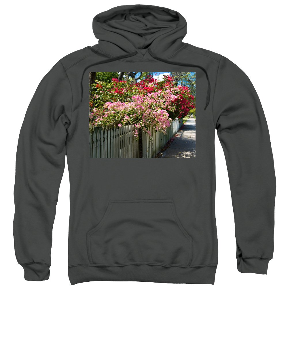 Nyctaginaceae; Bougainvillea; Flower; Flowers; Flowering; Bloom; Bloomimg; Blossom; Blossoming; Red; Sweatshirt featuring the photograph Bougainvillea In Old Eau Gallie Florida by Allan Hughes