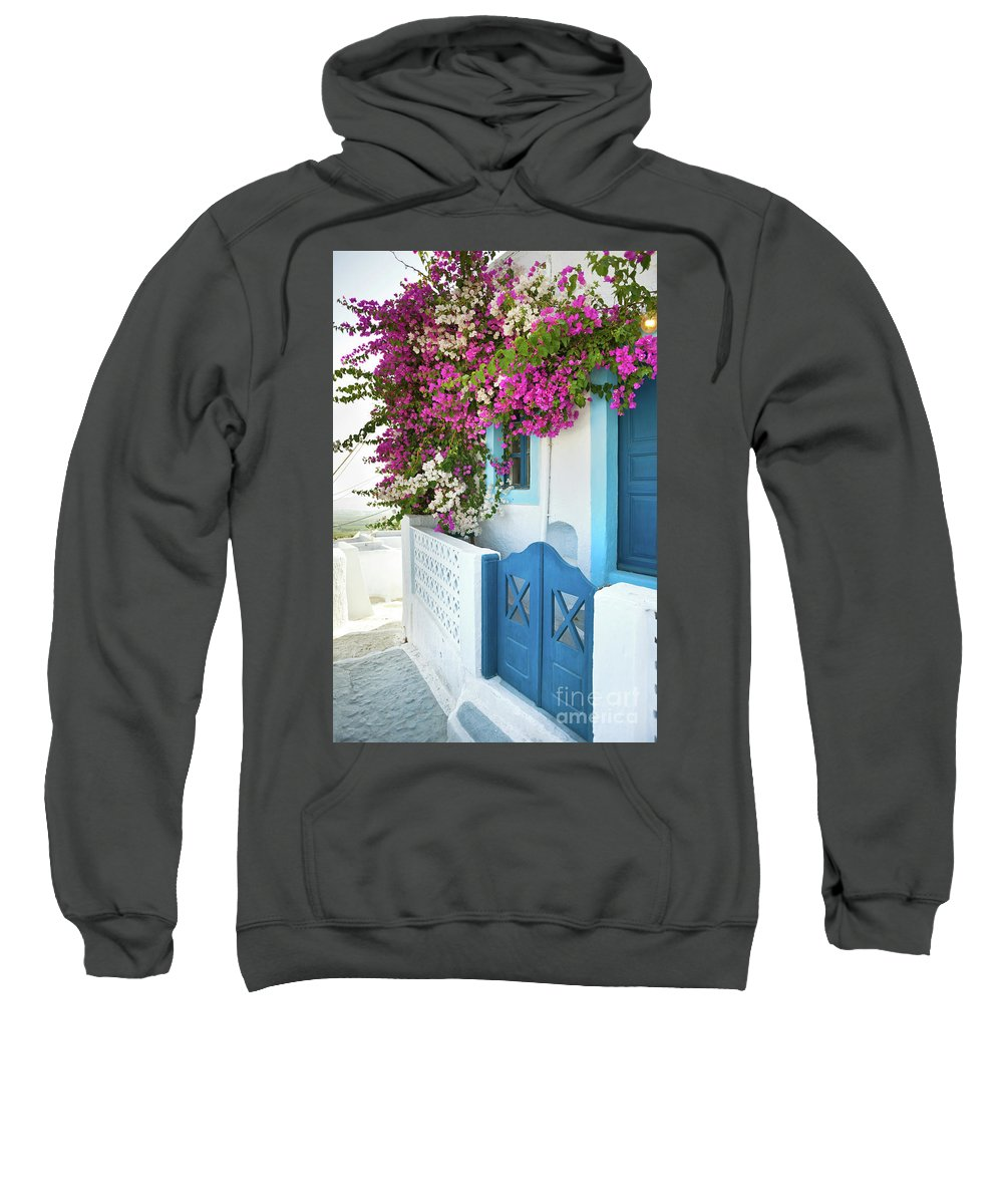 Greek Sweatshirt featuring the photograph Bougainvillea In Santorini Island by Antonio Gravante