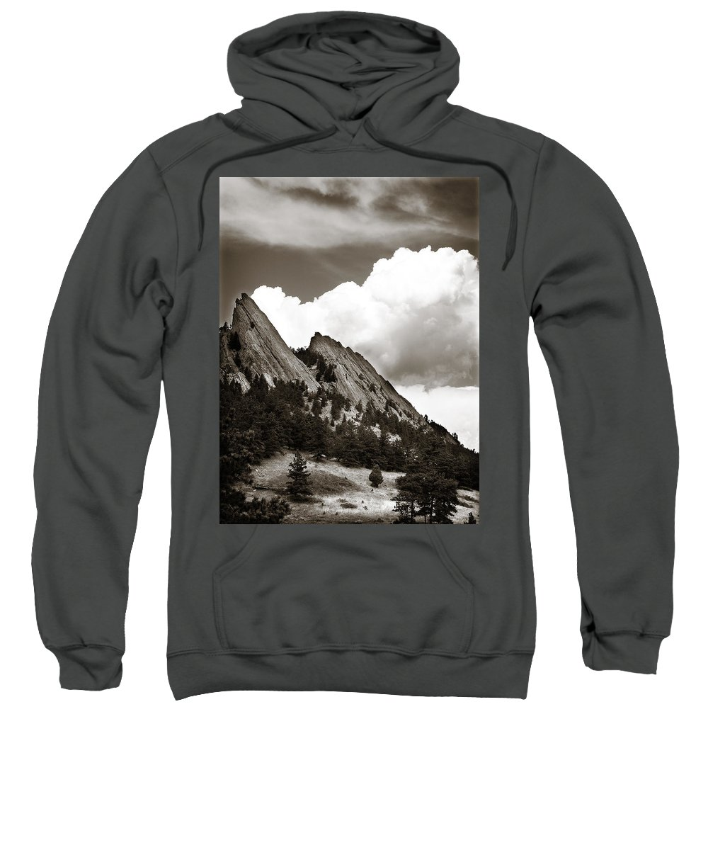 Flatirons Sweatshirt featuring the photograph Large Cloud Over Flatirons by Marilyn Hunt