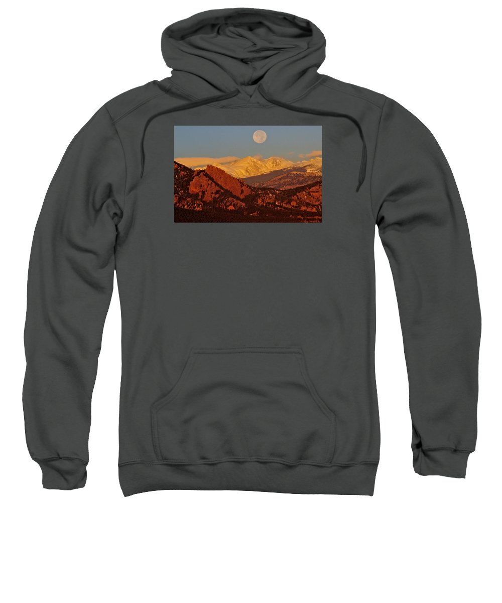 Colorado Sweatshirt featuring the photograph Boulder Moonrise by Marta Robin Gaughen