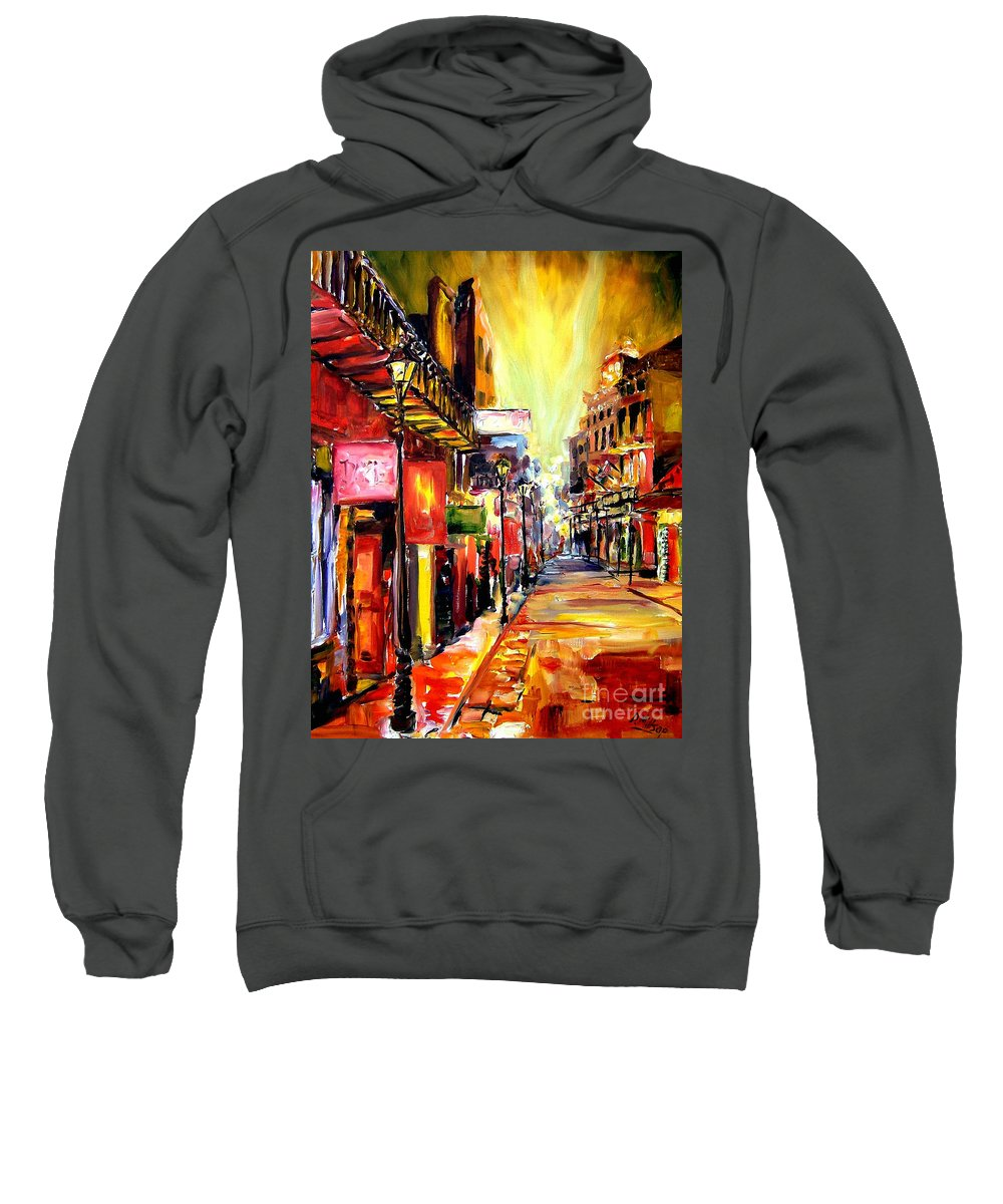 New Orleans Sweatshirt featuring the painting Bourbon Street Dazzle by Diane Millsap