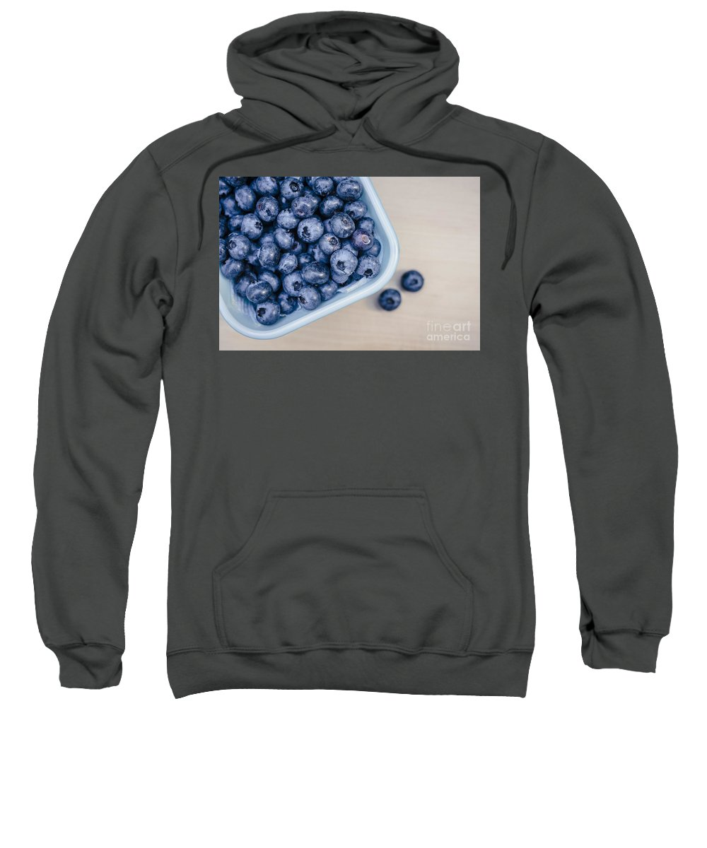Blue Sweatshirt featuring the photograph Bowl Of Fresh Blueberries by Edward Fielding