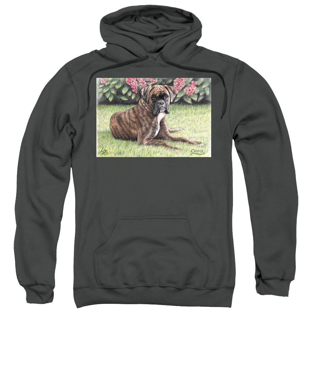 Dog Sweatshirt featuring the drawing Boxer Girl by Nicole Zeug