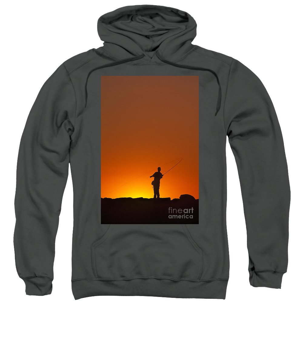 Youth Sweatshirt featuring the photograph Boy Fishing by John Greim