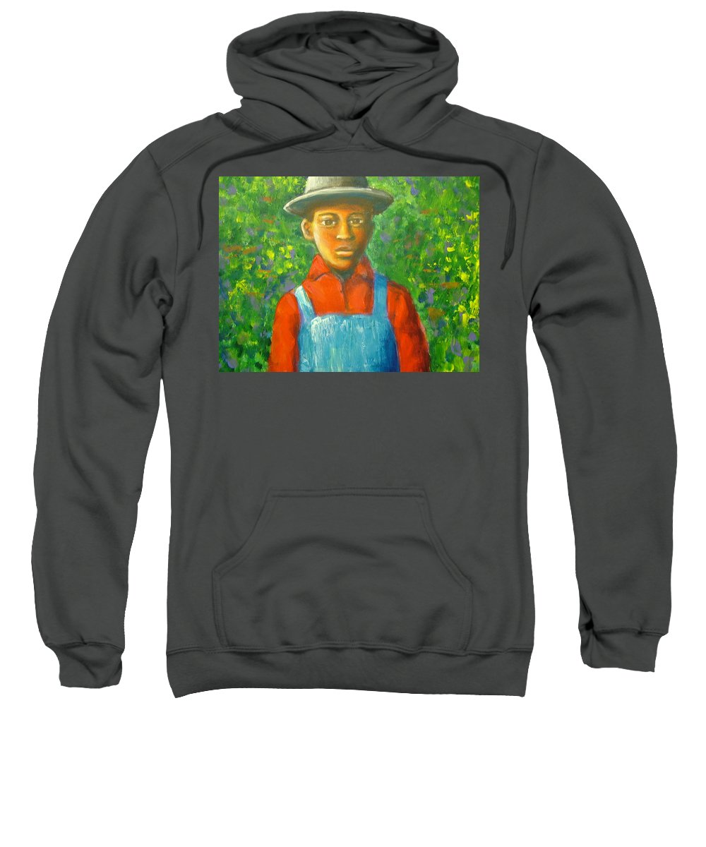 Painting Sweatshirt featuring the painting 'boy In The Woods' by Jan Gilmore