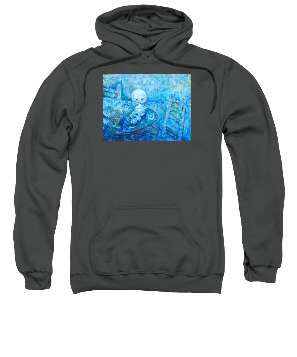 Twilight Of A Impressionistic Blond Boy That Could Also Represent A Moon Lighting Up The Earth That Is Represented By The Table. Abstracted Double Images Sweatshirt featuring the painting Boy Lights Up The Would by Thomas Dudas