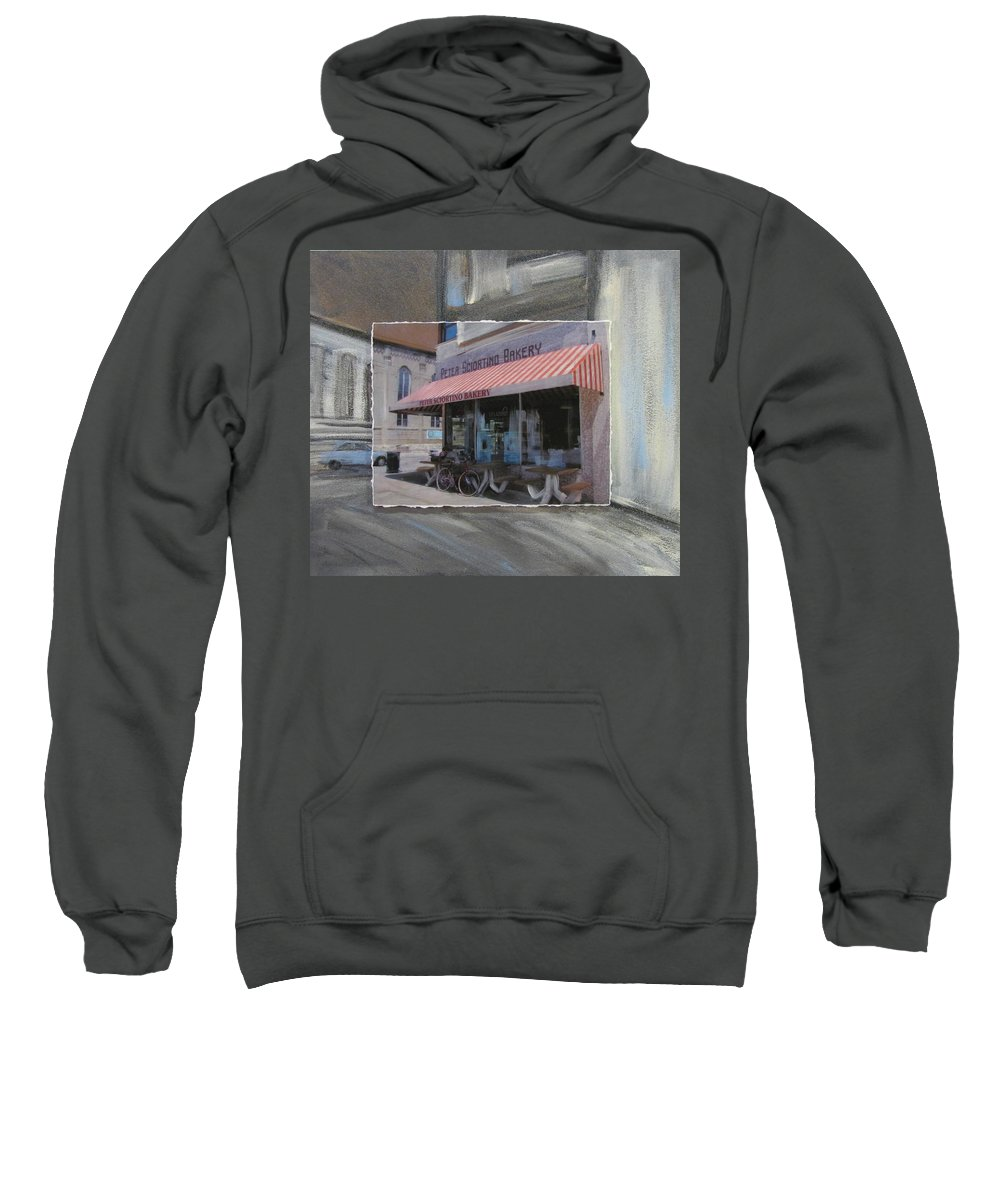 Brady Street Sweatshirt featuring the mixed media Brady Street - Peter Scortino Bakery Layered by Anita Burgermeister