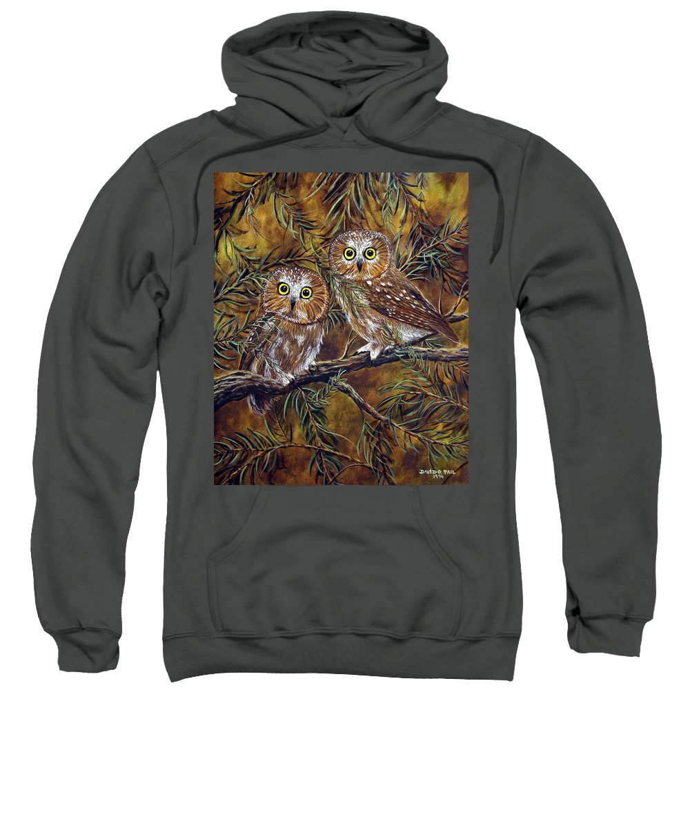 Owls Sweatshirt featuring the painting Branch Buddies by David G Paul