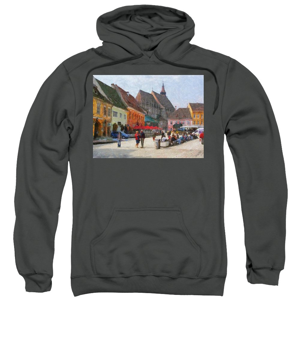 Shop Sweatshirt featuring the painting Brasov Council Square by Jeffrey Kolker
