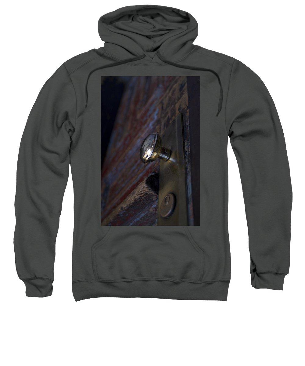 Door Sweatshirt featuring the photograph Brass Door Knob I by Henri Irizarri