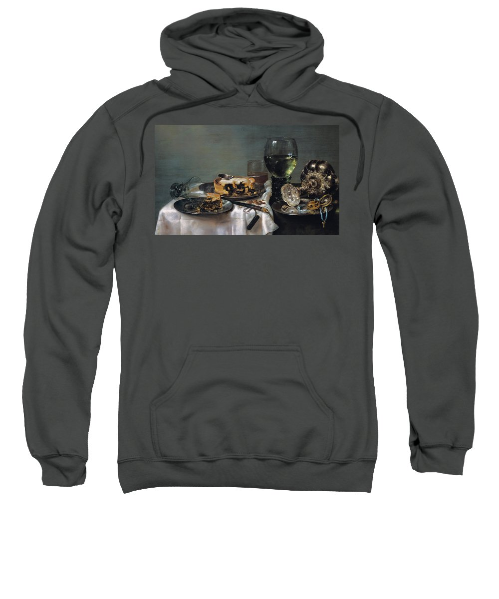 Still-life Sweatshirt featuring the painting Breakfast Table With Blackberry Pie by Willem Claeszoon Heda