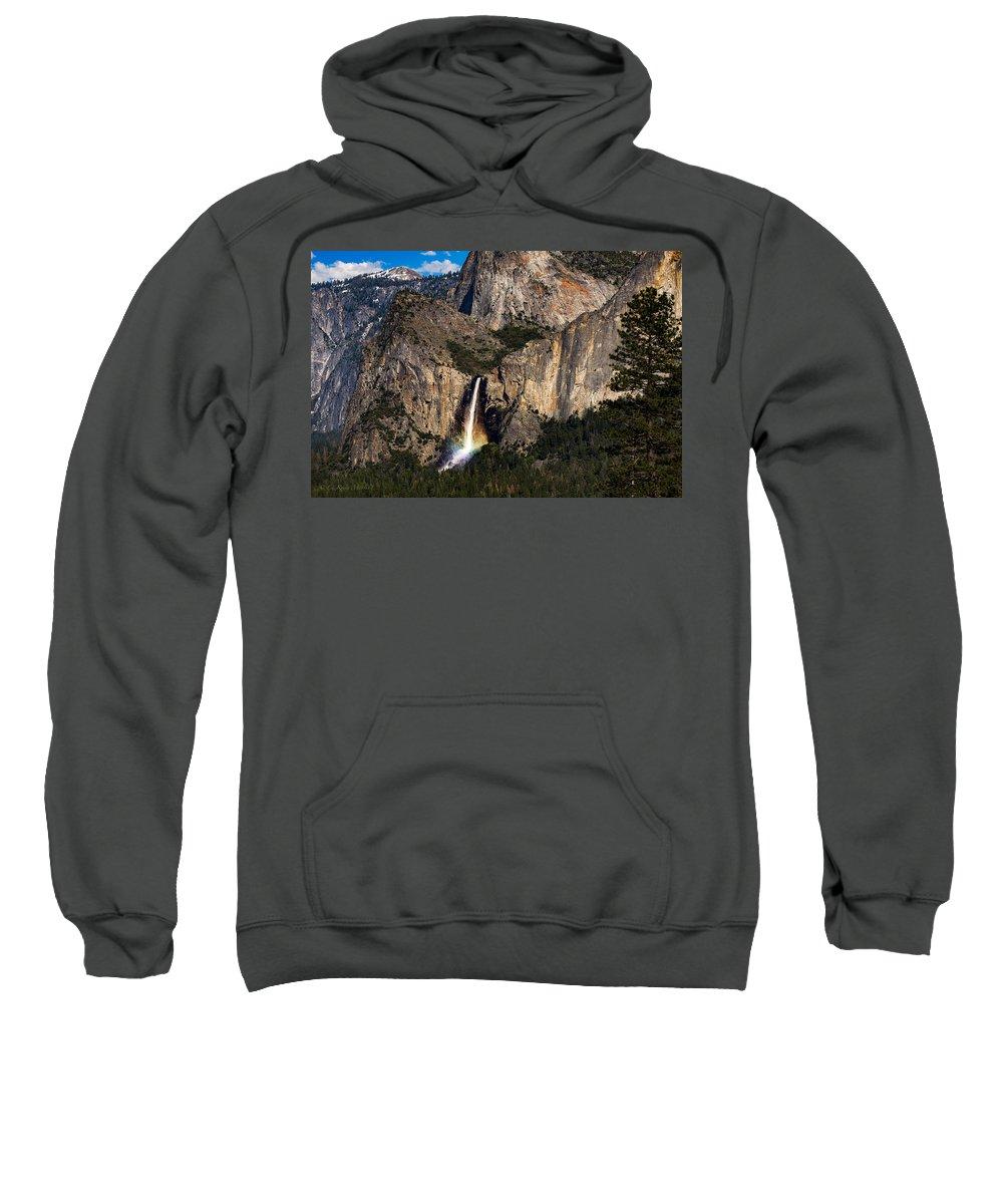 Yosemite National Park Sweatshirt featuring the photograph Bridalveil Falls Rainbow #3 by C Renee Martin