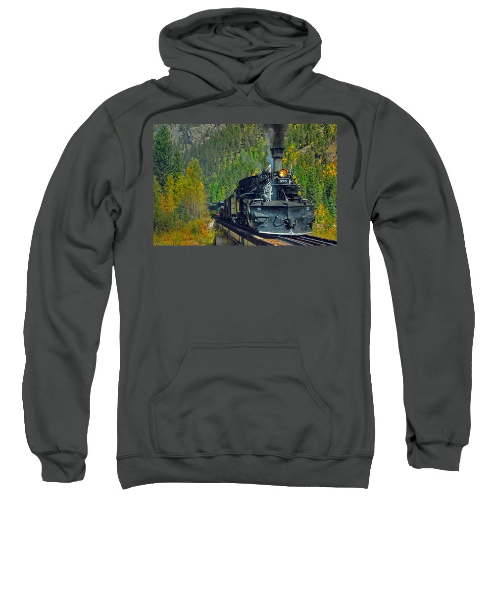 Steam Train Photographs Sweatshirt featuring the photograph Bridge View by Ken Smith